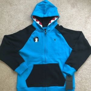 Boys large Hurley shark hoodie NWT
